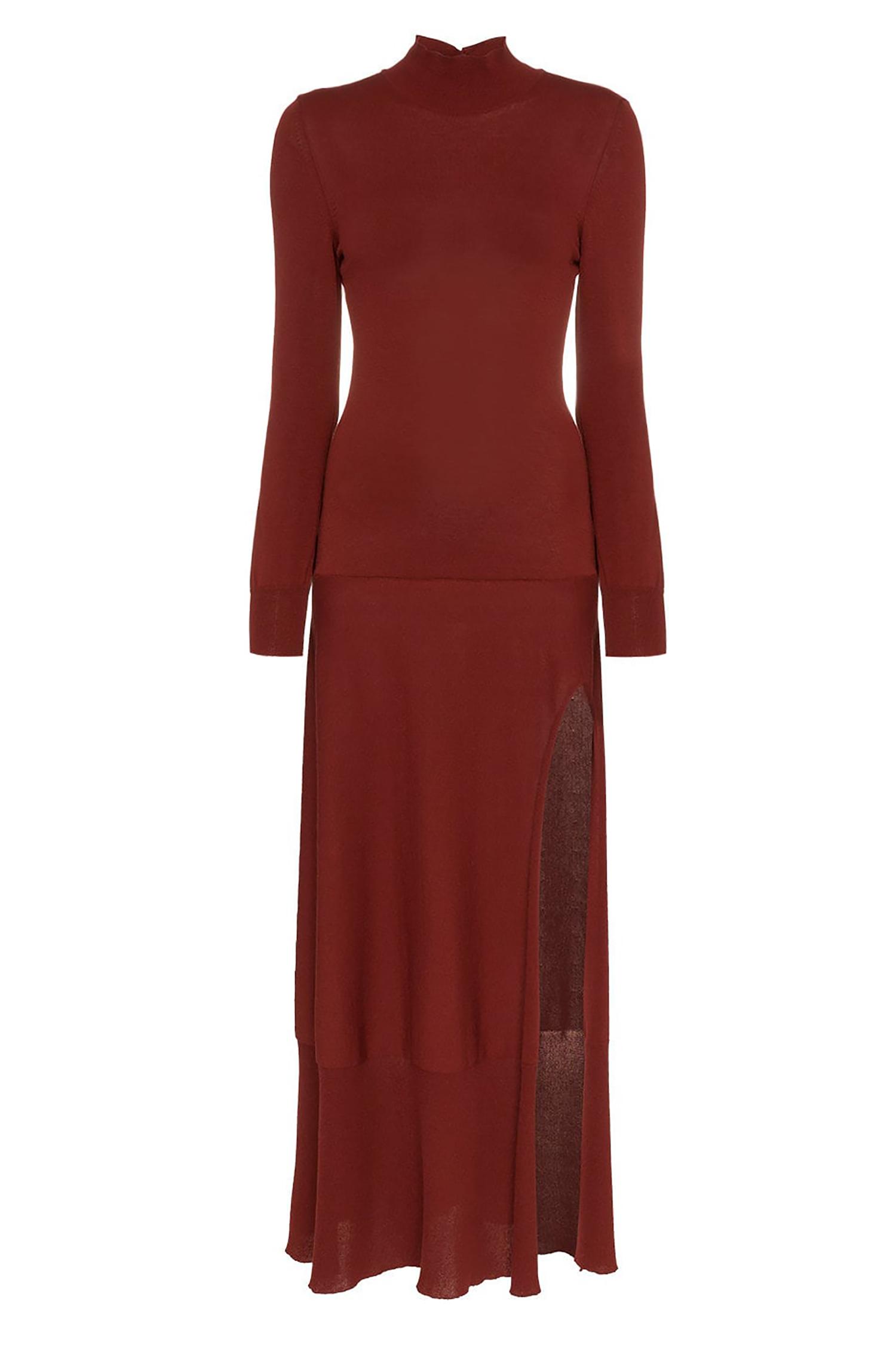 0fdc0112f41 JACQUEMUS Платье макси с высоким воротом и длинными рукавами ...