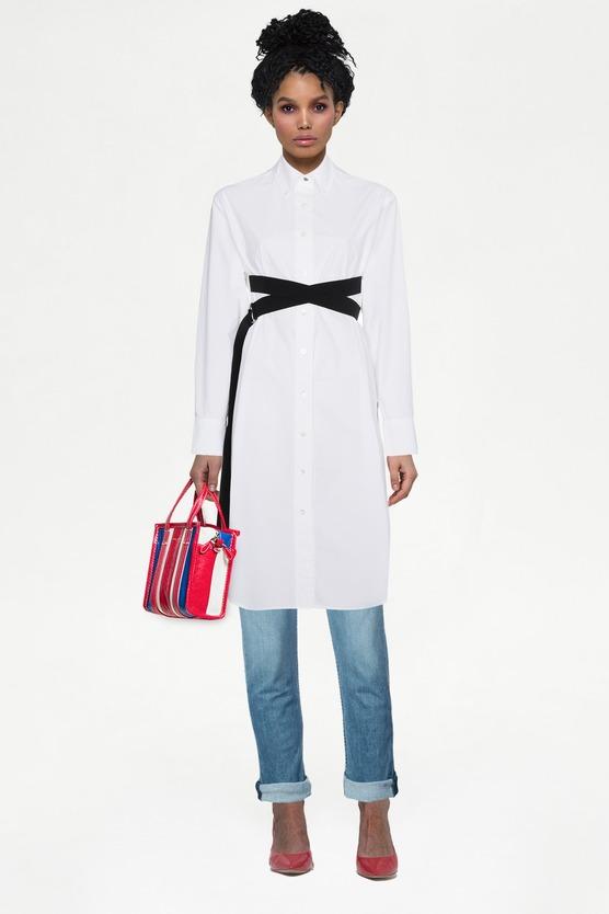 750cfdde169 Образ платье-рубашка с длинными рукавами pswl и укороченные джинсы